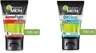 Garnier Men Acno Fight Anti-Pimple Facewash, 100gm And Garnier Men Oil Clear Clay D-Tox Deep Cleansing Icy Face Wash, 100gm