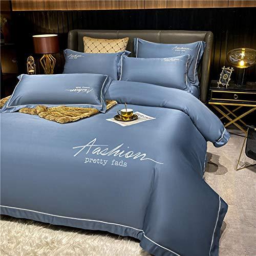 Bedding-LZ Juego de Funda de edredón Doble,Lavado y Hielo Seda Sleep Sleep Sleep Capado de Cuatro Piezas-T_1,5 m la Cama (4 Piezas)