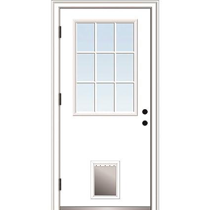 80 Height 9 Lite with Pet Door 30x80 Primed Left Hand Outswing Prehung Front Door Clear Glass Steel National Door Company ZZ364792L Steel