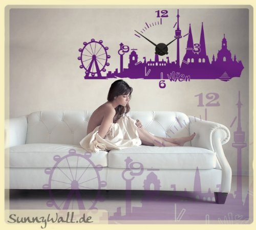 Sunnywall Wandtattoo Uhr Karlsson Wanduhr Skyline Wien Farbe Grün