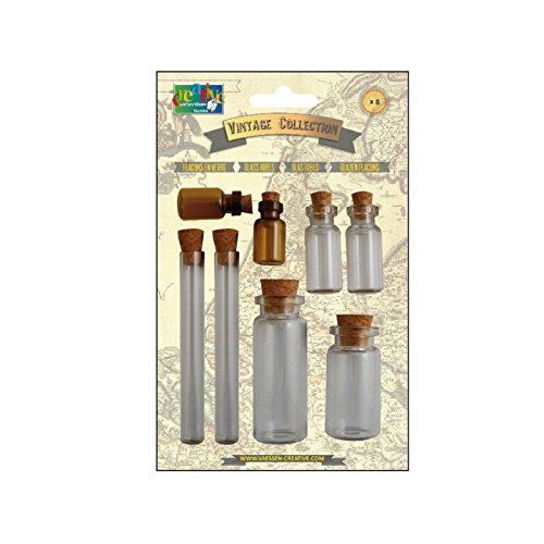 Vaessen Creative Vintage glazen flesjes met kurk x 8, metaal, transparant, 5 x 2 x 2 cm, 8-stuks