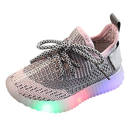 BURFLY Baby Jungen und Mädchen fliegen gewebte LED-Leuchten Turnschuhe leuchtende Laufschuhe Lichter Schuhe Freizeitschuhe