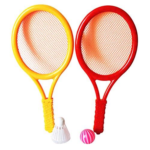 LIOOBO Juego de tenis de plástico con 2 raquetas y pelotas de tenis de bádminton junior raqueta de tenis juego de playa juguetes