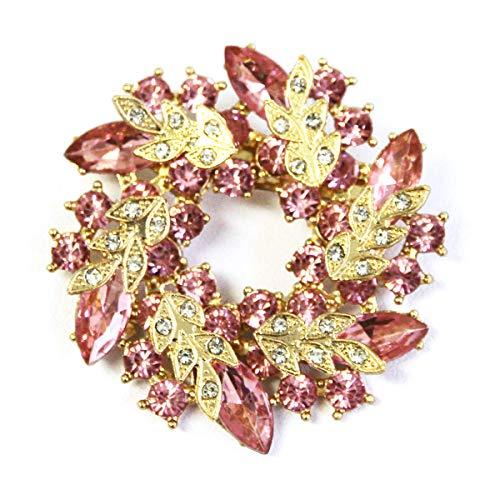 アクセサリー ブローチ キラキラ リース ビジュー クリスマス 卒業式 入学式 結婚式 セール 母の日 ギフト (チェリーピンク, ブローチ)