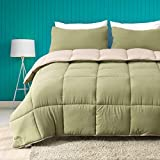 Cobnom All Season Reversible Cloud Comforter Set, 2-Piece Ultra-Soft Plush Breathable ECO Down Alternative Microfiber Comforter Duvet with Sham (Twin, Moss Green/Light Tan)