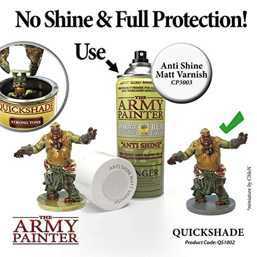 The Army Painter Quickshade Miniature Varnish for Miniature Painting, Strong Tone (250 ml)