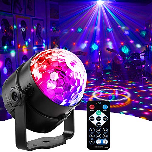 Mini Dj Disco Ball Party Stage Lights Led 7Colors Effect Projector Equipment for Stage Lighting With Remote Control Sound Activated for Dancing Christmas Gift KTV Bar Birthday