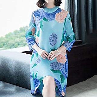Mdhnfhdjd Temperament Collar Dress Printed Cover Belly By Age (Color : Light Blue, Size : One Size)