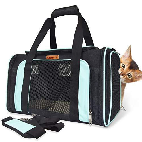 WOOFIE Faltbar Katzentransportbox, Hundebox Auto, 46x28x28cm Hunde Transportboxen Tragetasche Transporttasche für Haustiere bis 10kg, Hundetasche aus Oxford Gewebe (Blau)