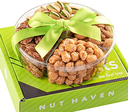 Holiday Nuts Gift Basket - Healthy Assortment of Sweet & Salty Dry Roasted Gourmet Nuts - Assorted Food Gift Box for Holiday Christmas, Thanksgiving, Fathers Day, Mothers Day, Family, Men and Women, Nut Haven