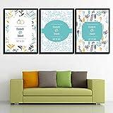 SJYHNB Cuadros Modernos Impresión de Imagen Artística Digitalizada Simple y planta y letra Lienzo Decorativo Para Salón o Dormitorio 30 x 50 cm x 3 Paneles (con Marco)