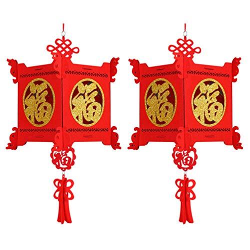 FRCOLOR 2 Stück Chinesische Neujahrslaternen Rote Chinesische Laternen für...