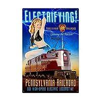 アルミメタルノベルティ危険サインペンシルベニア電気鉄道ピンナップガールトレイン、キッチンストア牧場ヤード鉄絵画ブリキサインカフェバーパブのヴィンテージ壁の装飾