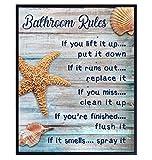 Beach Bathroom Decor - Coastal Nautical Rustic Bathroom Decor -Starfish, Seashells Restroom, Bath Art - Ocean, Sea House Wall Art, Home Decoration - Unique Shabby Chic Gift - Blue Sign 8x10 Photo