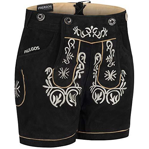 PAULGOS Damen Trachten Lederhose + Träger, Echtes Leder, Kurz in 8 Farben Gr. 34-50 M2, Farbe:Schwarz, Damen Größe:42