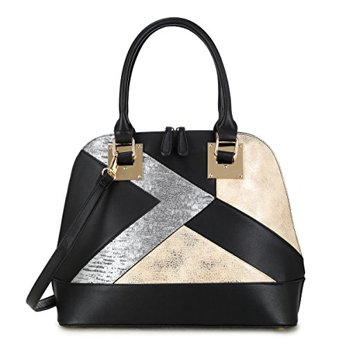 Dasein Zip-Around Classic Dome Satchels Tote Bags Top-handle Handbags with Long Shoulder Strap