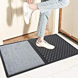 InLoveArts Alfombrilla Desinfectante para El Piso, Felpudo Desinfectante Zapatos, Felpudo Desinfectante Grande, con Dos Secciones - una para desinfectar y Otra para secar Las Suelas(Gris)