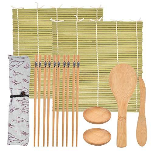 Set di Sushi in Bambù Kit per la Preparazione di Sushi Crea Facilmente Sushi Tappetini per Alimenti in Bambù dal Giappone