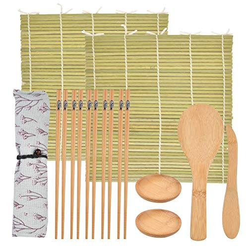 Juego de Sushi de Bambú Kit de Fabricación de Sushi Preparar Sushi Fácilmente Esterillas de Bambú para Preparar Comida de Japón