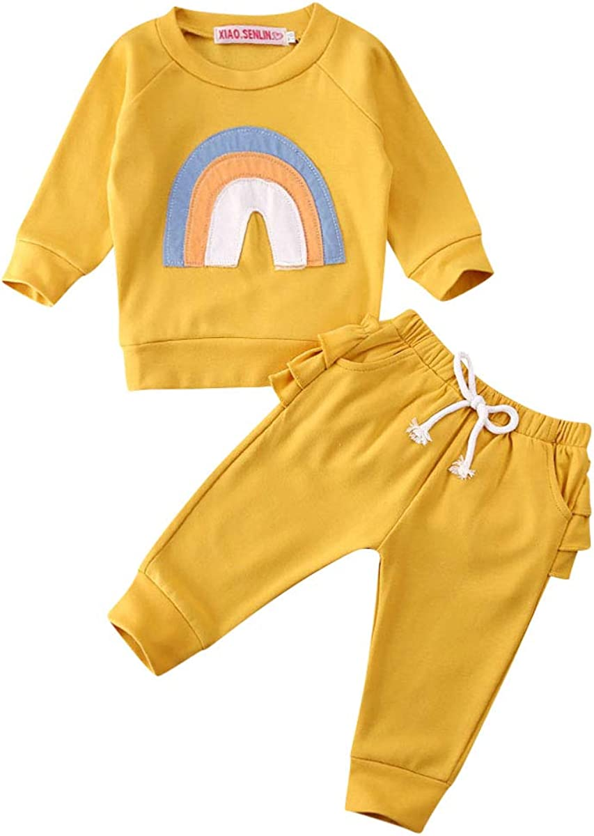 2PCS Toddler Baby Girl Boy Fall Winter Outfits Clothes Sweatshirt Tops Leopard Pants Set