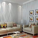 Homgrace Rollo de papel pintado de lujo 53*1000cm, Autoadhesivo extraíble Pegatinas de despegar con textura, para salón, dormitorio, diseño moderno y minimalista, color gris plateado