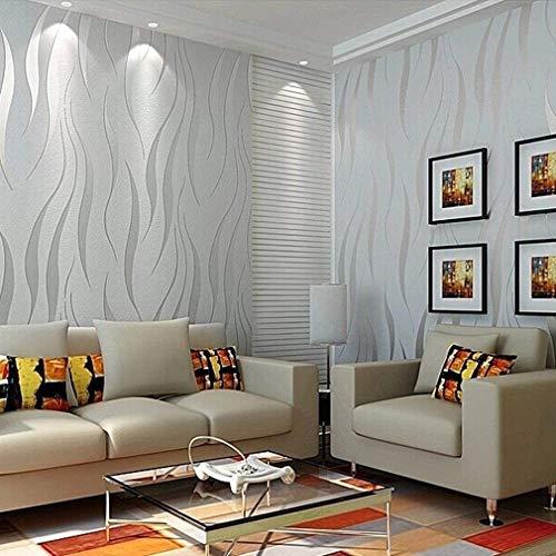 """Homgrace moderne, minimalistische Tapete mit 3D-Motiv """"Welle"""", geflockt, texturiert, für Wohnzimmer, Schlafzimmer, silbergrau"""