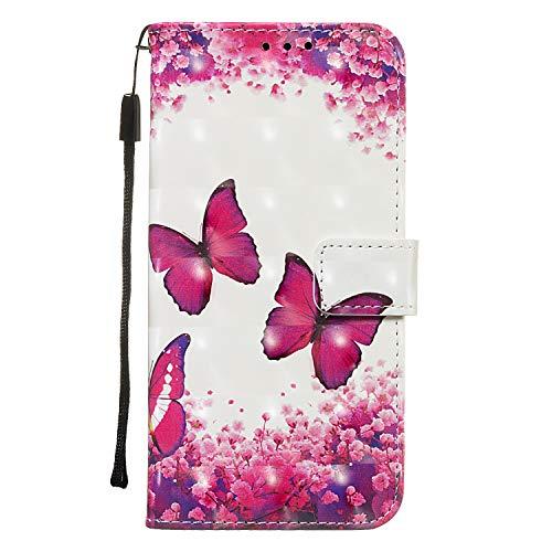 Shukukan voor Huawei P Smart Z telefoonhoesje, 3D stijlvolle PU lederen hoesjes portemonnee standaard Folio Flip Cover Slim Fit Magnetische beschermende Holster met kaartsleuven voor Huawei P Smart Z Butterfly