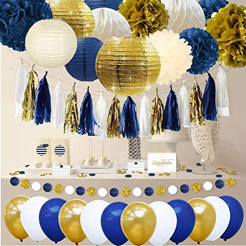 Navy and Gold Party Decorations - Navy and Gold Balloons, (WGW) Baby Shower Decor, Men's Party Decoration, Graduation Party (9 Pieces Combo Set)
