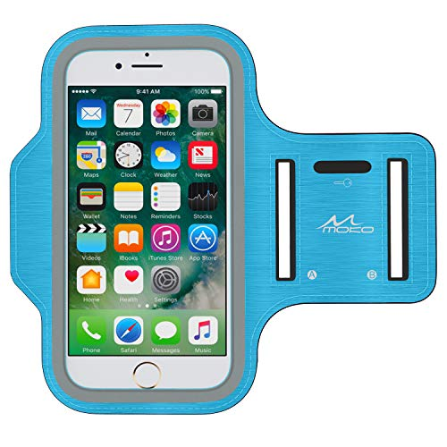 MoKo Phone Armband, Water Resistant Running Cell Phone Armband with Key Holder Adjustable Band Compitable with iPhone 11 Pro, X, Xs, 8, 7, 6, 6s, 5s, 5c, SE, 5, 4S,4 for Walking Fitness, Blue