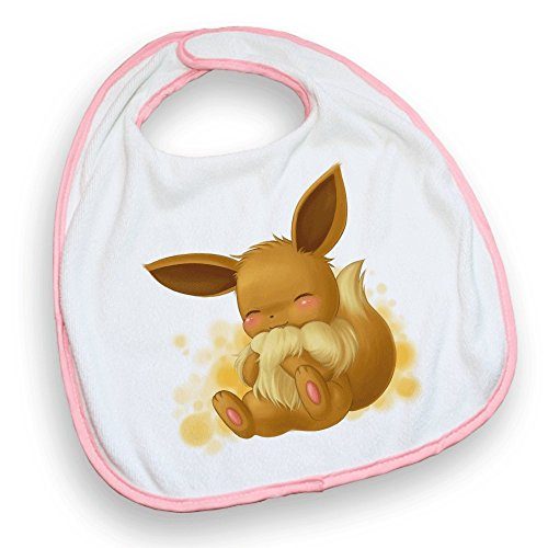 Bavoir rose Pokemon Evoli chibi - Fabriqué en France - Chamalow Shop