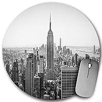 KAPANOU ラウンドマウスパッド カスタムマウスパッド、晴れた日のニューヨーク、米国エンパイアステートビルとロウアーマンハッタン、PC ノートパソコン オフィス用 円形 デスクマット 、ズされたゲーミングマウスパッド 滑り止め 耐久性が 200mmx200mm