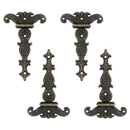 MY MIRONEY 4.45' x 2.72' Tee Hinge Zinc Alloy Antique Bronze Decorative T-Strap Hinges Door Hinges with Screws Pack of 4
