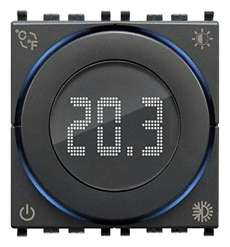 Vimar 02973 Termostato inteligente de rueda con Bluetooth, alimentación 100-240 V, ON/OFF y PID, retroiluminación LED, 2 módulos, compatible con Eikon, Arké, Plana, Idea de soporte dedicado