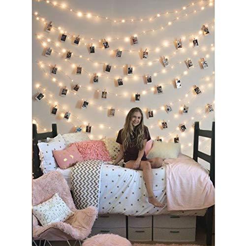 Lichterkette mit klammern für Fotos, 5M 50er LEDs Lichterkette Batterie für Fotowand Innenzimmer Weihnachte, Zimmerdeko warmweiß
