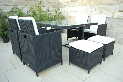 NORDLAND Gartenmöbel Set RANA Polyrattan für 4+4 Personen inkl. Glasplatten , Schutzabdeckung , Aluminiumgestell und allen Sitzkissen / Polstern - 1 Tisch 4 Stuhl 4 Hocker 12 Polster - Sitzgruppe
