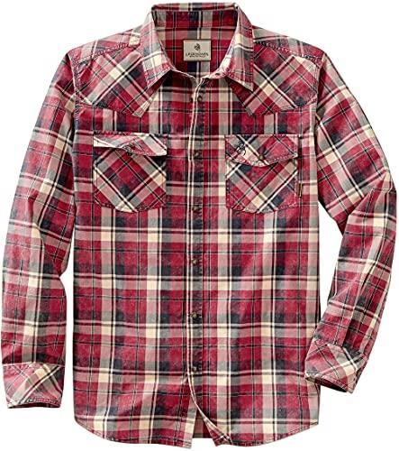 Legendary Whitetails Men's Outlaw Western Shirt, Patriot Plaid, Large