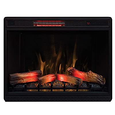"ClassicFlame 33"" 3D Infrared Quartz Electric Fireplace Insert with Safer Plug and Safer Sensor, Black"