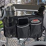 Rollstühle Zubehör Rollstuhltasche - Rollstuhl Tasche für Rollstuhlarmlehnen mit Verstellbarer Schnalle, Wasserdichte Tragbare Rollertasche mit 6 Fächern, Aktualisierte Version, Schwarz