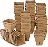 ANGTUO Seed Starter Peat Pots Kit for Garden Seedling Tray 100% Eco-Friendly Organic Germination Seedling Trays Biodegradable 102 Pack| 20 Plastic Plant Markers Included