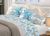 HomeLife Set Lenzuola Letto Matrimoniale Cotone Fantasia Mare, Made in Italy | Completo 2 Piazze + Federe Coralli Azzurri | Lenzuolo sopra 180x300 + sotto con Angoli 120x200 + Federe 52x82 - Blu,2 P