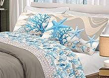 HomeLife Juego de Sábanas de Algodón con Fantasía Mar Funda para Almohada   Sábana Encimera de 160x300, Sábana Bajera de 90x200, Funda de Almohada de 52x82 - Azul, Cama de 90cm