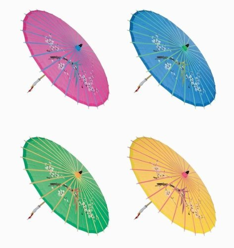 'Assortment or six (6) 30'' Large Asian Silk Umbrella/Parasol'
