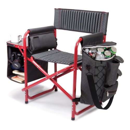 ONIVA - a Picnic Time Brand Fusion Original Design Outdoor Folding Chair, Gray with Red Frame