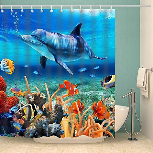 Fansu Duschvorhang Anti-Schimmel, 3D Drucken 100% Polyester Bad Vorhang Wasserdicht Anti-Bakteriell mit C-Form Kunststoff Haken mit 12 Ringe für Badzimmer (Delfin,90x180cm)