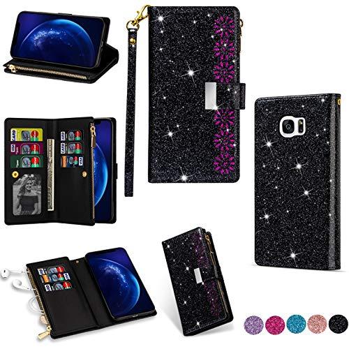 Hancda - Funda para Samsung Galaxy S7 Edge [no para S7], funda para teléfono móvil de piel con purpurina, con cierre de cremallera, tarjetero, funda para Galaxy S7 Edge, color negro