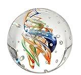 Traumkugel 172 Glaskugel, bunte Spiralen mit vielen Blasen, Briefbeschwerer, Wunschkugel ca. 6,5-7...