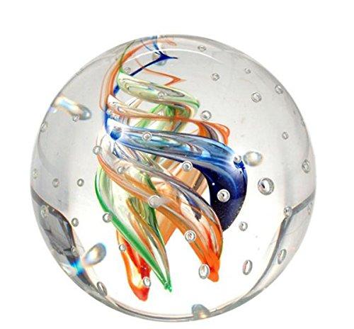 Traumkugel 172 Glaskugel, bunte Spiralen mit vielen Blasen, Briefbeschwerer, Wunschkugel ca. 6,5-7 cm
