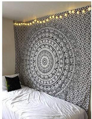 RAILONCH Multicolored Indischer Wandteppich Wandbehang Mandala Tuch Wandtuch Gobelin Tapestry Goa Indien Hippie-/ Boho Stil als Dekotuch/Tagesdecke (Grau, 210 * 150)