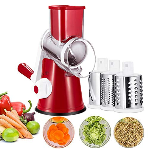 Basuwell Manuelle Gemüseschneider Gemüsehobel Trommelreibe Käsemühle Mit 3 Edelstahl Trommeleinsätze (Rot)