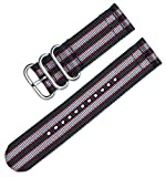 deBeer 20mm Military Ballistic Nylon 2-Piece Watch Band/Watch Strap - Black with Grey & Red Stripes